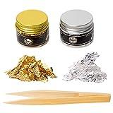 KINNO Copos de hojas de oro comestibles 24 K y copos de hoja de plata auténticos para decoración de tartas, maquillaje, artes y oficios (negro y oro de 24 K)