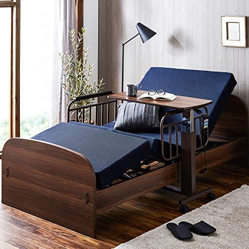 電動ベッド 2モーター 家庭用介護ベッド シングルサイズ フレーム+マットレスセット 手すり付き リクライニングベッド 高さ調節 リモコン操作 人気 ランキング (開梱設置付き配送)