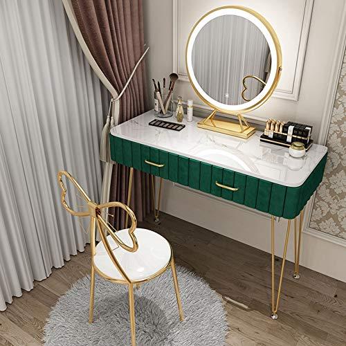 Soul Case Waschtischset mit rundem LED-Spiegel, Make-up-Schminktisch mit gepolstertem Samthocker und Einstellbarer Helligkeit, Tisch mit und 2 Schiebeschubladen