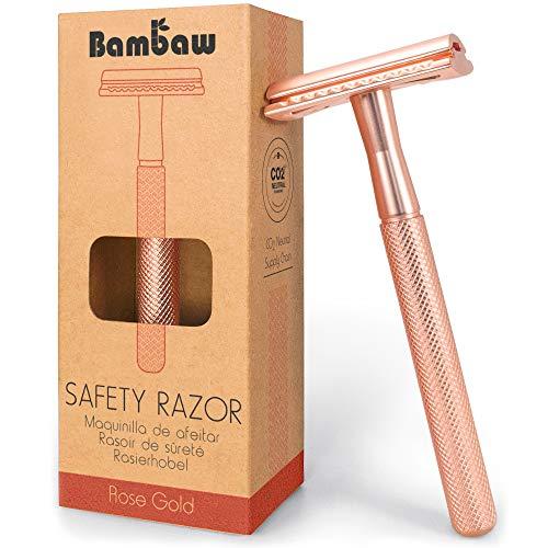 Metall Rasierer Frauen | Rasierhobel Rosegold | Eco Rasierer Frauen | Nassrasierer Damen | Rasierhobel Damen | Zero Waste Rasierer | Einklingen Rasierer | Safety Razor | Double Edge Razor | Bambaw