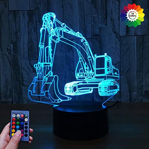 3D Bagger Illusions LED Lampen Fernbedienung 7/16 Farbwechsel Acryl Berühren Tabelle Schreibtisch-Nacht licht mit USB-Kabel für Kinder Schlafzimmer Geburtstagsgeschenke Geschenk