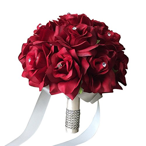 "9"" Wedding Bouquet - Apple Red Open Roses with Rhinestone and Bling Decor(ivory Ribbon)"