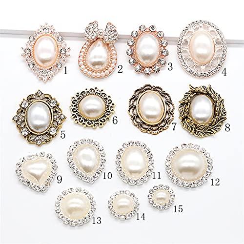 YMBHUO Botón Redondo Botón a presión Pin de Jeans 10pc Pearl Series Botones de Metal Flatback Crystal Pearl Botón Decorativo DIY Accesorios de Centro de Flores Hecho a Mano (Size : NO.2-10PC)
