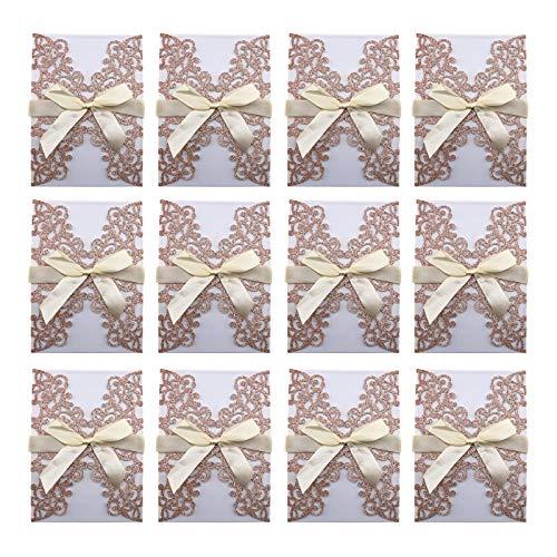 Tarjetas de invitación para boda, compromiso, cumpleaños, Quinceanera, sobres con páginas vacías, juego de 25 unidades, oro rosa brillante