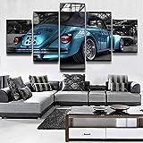 WYJIE Cuadro en Lienzo Arte de la Pared Impresiones Decorativas para el hogar Imagen Moderna para Sala de Estar o Dormitorio 5 Panel Beetle Blue Car PosterFramed30x40cm30x60cm30x80cm