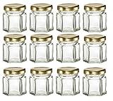 Nakpunar 12pcs, 1,5oz Mini hexagonal botes de cristal para mermelada, miel, Regalos de boda, ducha, regalos, bebé alimentos, DIY magnético tarros de especias
