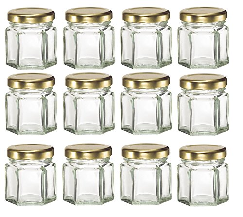 Nakpunar 12 pcs, 1.5 oz Mini Hexagon Glass Jars with Gold Lids