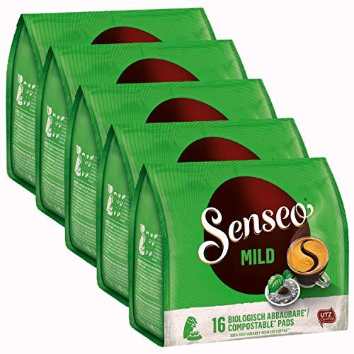 Senseo Kaffeepads Mild, Feiner und Samtweicher Geschmack, Kaffee, neues Design, 5er Pack, 5 x 16 Pads