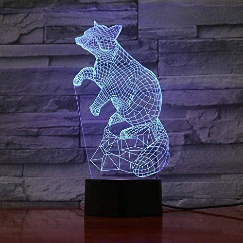 Lámpara de escritorio de dibujos animados para dormitorio de niños con luz de noche LED 3D Mini regalos de vacaciones-16 colors remote