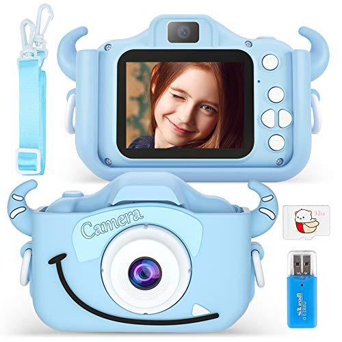 Vivibel Cámara de fotos digital para niños con 20 megapíxeles, doble lente de 2 pulgadas, 1080P 32G TF, funda de silicona, juguete para niños en Navidad
