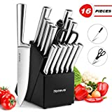 Knife Set with Block, Homever 16-Piece Kitchen Knife Set Including Scissor and Self Sharpening Knife Sharpener, Japan Stainless Steel Knife Set