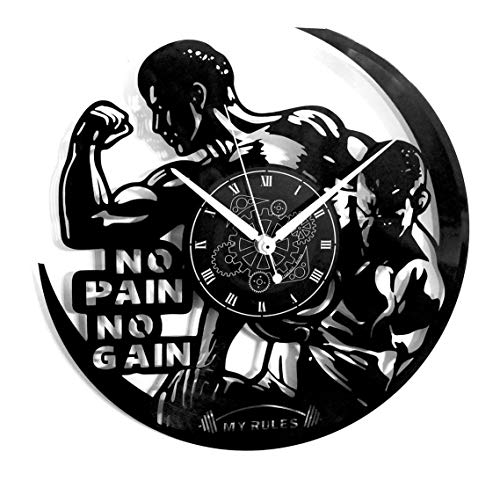 Instant Karma Clocks Wandklok van vinyl, vintage handgemaakt Pain No Gain Training Gym Fitness