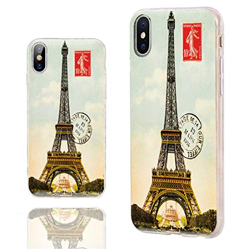 iPhone Xs Case Cute,iPhone X Case Cool,iPhone 10 Case,ChiChiC Slim Flexible Soft Rubber Silicone TPU Clear Case Cover with Design for Apple iPhone Xs X 10, Vintage Postcard with Eiffel Tower in Paris