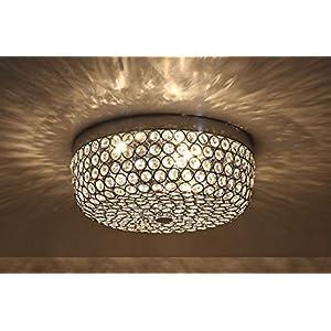 SHUPREGU Lighting,3-Light Modern Crystal Chandelier,Chrome Finish Flush Mount Ceiling Light,for Hallway, Bedroom, Kitchen, ETC., Bulbs Not Included