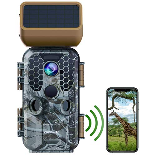 Campark Solar Power Trail Camera 30MP 4K Native WiFi Bluetooth Game Camera with Night Vision Motion Activated Waterproof Wildlife Camera