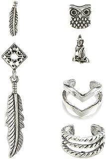U-HOOME Earrings, Bohemian Style Stud Earrings Set for Women Alloy Owl Pearls Pendant Hoop Earring, Personalized Gifts for...
