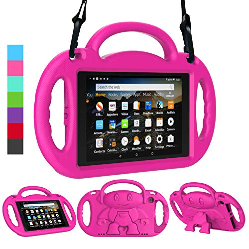 LEDNICEKER Kids Case for Fire HD 8 2018/2017 - Shockproof Handle Friendly Kids Stand Case with Shoulder Strap for Amazon for Fire HD 8 inch Tablet (7th & 8th Gen Tablet, 2017 & 2018 Release) - Rose