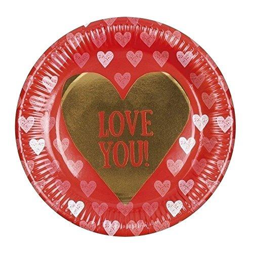Neu: 6 Party-Teller * Love You * für den Valentinstag | Liebe Herz rot Gold Pappteller Einweg Valentin Hochzeit Heirat Heiraten Antrag romantisch