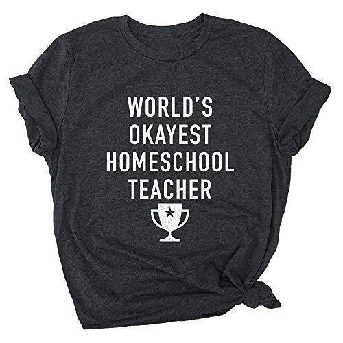 Spunky Pineapple World's Okayest Homeschool Teacher Funny School Premium T-Shirt Charcoal Black
