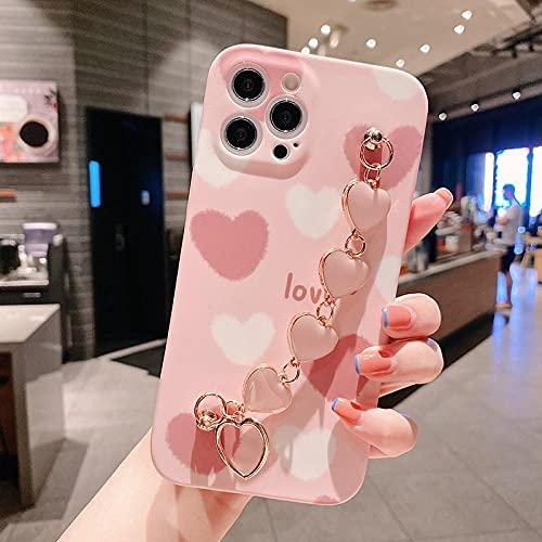 Funda para iPhone 12 Mini 11 Pro Max XR, funda fina de silicona líquida de lujo con cadena de amor para mujer estilo B para iPhone 11 Pro
