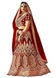 Divine Products India Women's Maroon Pure Silk Semi-Stitched Lehenga Choli With Dupatta