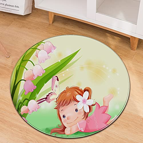 Oukeep Cartoon Little Girl Round Carpet Home Children Crawling Mat Non-Slip Wear-Resistant Thickened Washing Material Household Rocking Chair Mat