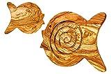 ARTE LEGNO SPELLO SRL Arte Madera Spello Srl Duo Color salvamanteles y tabla de cortar (madera de olivo forma animal cm 21x 18x 2, Pescado