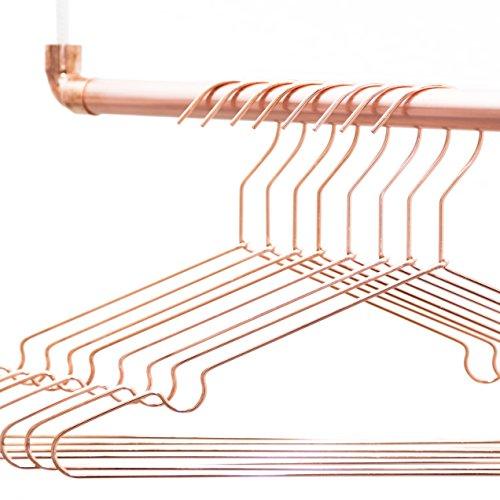 rod & knot - Grucce appendiabiti in metallo resistente, 8 pezzi, colore: oro rame