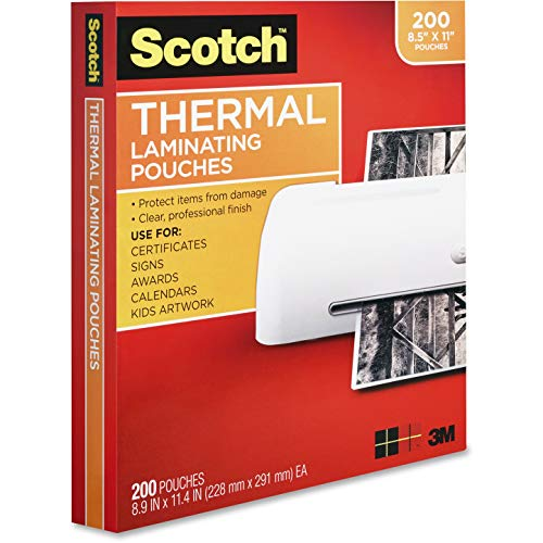 Scotch Thermal Laminating Pouches 200Pack 89 x 114 Inches Letter Size Sheets Clear 3Mil TP3854200
