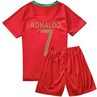 ZAIYI-Jersey Children Soccer T-Shirt-Ronaldo-7 for Football Sports Fan Team Jersey T-Shirt for Boy's and Girl's Gifts