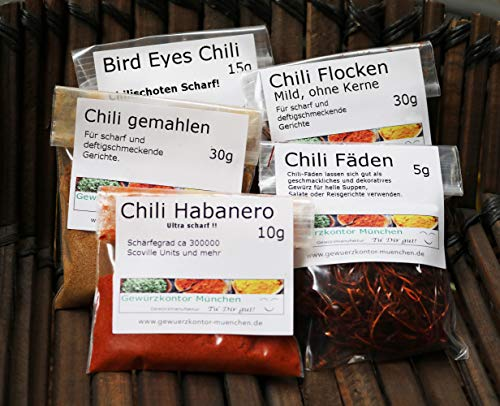 Chili-Probierset-1 mit Chili Habaenero, Chili Flocken mild, Bird Eyes Chili, Chili gemahlen,Chili Fäden