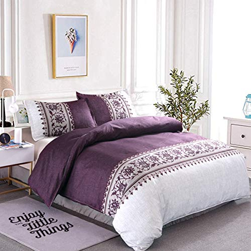Purple Duvet Cover Set King Size 3 Pieces Reversible Purple/Beige Printed Bedding Quilt Duvet Cover with Zipper Ties and 2 Pillowcases Ultra Soft Microfiber 230x220cm