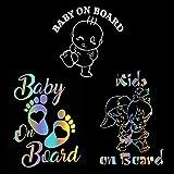 Bebé a Bordo Pegatina Coche, Baby on Board Kids on Board Footprint Car Warning Pegatinas de Seguridad para Ventana de Parachoques Paquete de 3