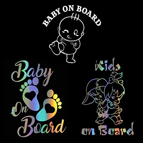 Baby an Bord Aufkleber, Baby an Bord Kinder an Bord Footprint Auto-Warnaufkleber Stoßstangenfenster-Sicherheitsaufkleber 3er-Pack
