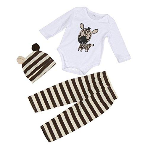 Bébé Ensemble de Vêtements,LMMVP 3pcs Infantile Bébé Fille Garçon Zèbre Barboteuse Top + Chapeau + Pantalon Vêtements Ensemble (80(0-6M), café)