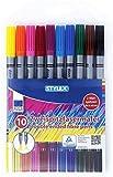 Stylex® Zweispitzfasermaler / Doppelfasermaler mit je 2 Malspitzen dick und dünn - 10 Stifte, 10 aktuelle Farben - Tinte auf Wasserbasis, auswaschbar (Fasermaler Filzstifte)