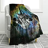 Jekeno Galaxy Space Cat Blanket Soft Warm Air Conditioning Throw Blanket for Couch Sofa Travelling 50'x60'