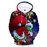 LiDaiJin Monstruo de Pelo Verde Grinch suéter con Capucha Casual de impresión Digital