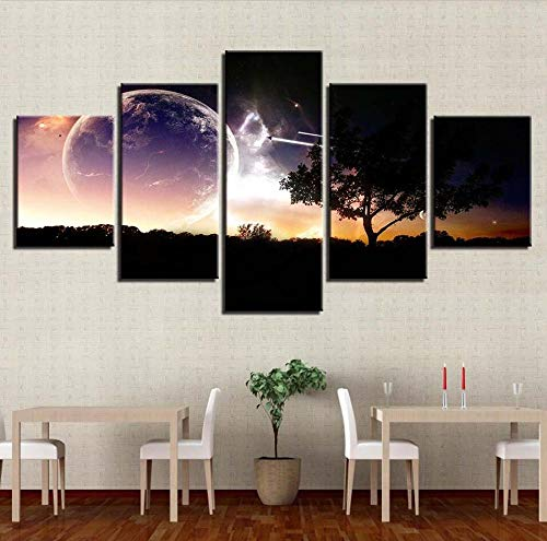 Chuixiaoxiao1 Modern Canvas Prints 5 Piece Wall Art Bright night sky Home Decoration Painting Printed on Canvas for Bedroom Living Room Bathroom Office Home Decoration
