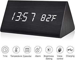 Kpin Wooden Alarm Clock, Wood LED Digital Desk Clock, Upgraded with Time Temperature, Adjustable Brightness, 3 Set of Alarm and Voice Control(Black)