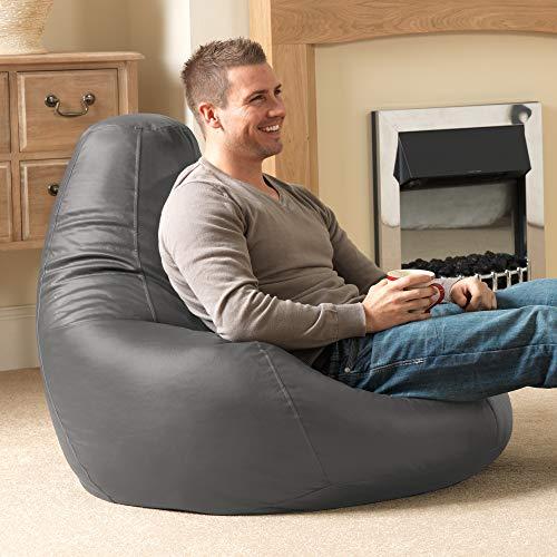 """Bean Bag Bazaar """"Designer Recliner"""" aus Kunstleder, Schiefergrau, Gaming-Sitzsack, Sitzsäcke für Erwachsene, 90cm x 73cm, Groß, Sitzsäcke für das Wohnzimmer"""