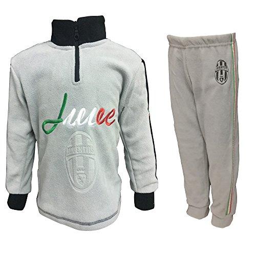 Juventus Pigiama Bambino Lungo in Pile Mezza Zip Prodotto Ufficiale Art. JU16023 (Grigio, 5 Anni)