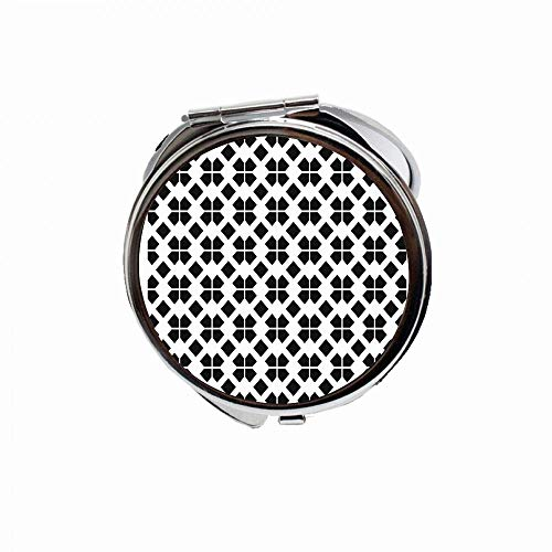 HOOSUNFlagrbfa Yellow Britain Geometric Vintage Pattern Black Abstract British Celtic Checkered Classic Style Travel Pocket Fold Makeup Mirror Gifts Graduation Gift For Women Girls 2.75 inch