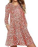 CNFIO Vestidos de Mujer Manga Larga O-Cuello Redondo Vestido de Camiseta Casual Vestido Leopard Dos Bolsillos