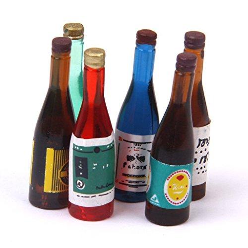 TOOGOO(R) Botellas en miniatura 1/12 Botellas en miniatura de casa de munecas vino 6 pieza juego