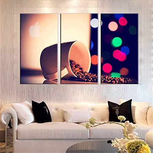 3-teiliges Ölgemälde auf Leinwandmotiv: Kaffeebohne für Wohnzimmer HD-Druck modern rahmenlos 50 x 70 x 3