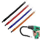 4 Pcs Flexible Drill Bit Extension, Screwdriver Soft Shafts, 11.6 inch, FineGood Universal Drill Connection - Black, Red, Blue, Orange