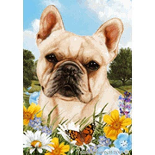 Best of Breed Summer Flowers Full Flag - Cream French Bulldog