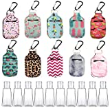 L PATTERN 10 PCS Travel Bottles clip on for Toiletries,Shampoo,Lotion,Hand Sanitizer Refillable Keychain Sanitizer Holder Small Mini Portable Bottles Containers Carrier with clips-1oz dispenser bottle