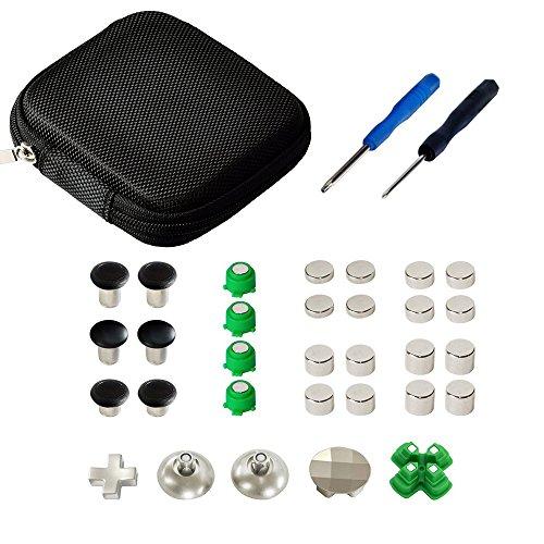 Mcbazel 31 in 1 Metall-Magnetlegierung Analoges Custom Tuning Set mit Werkzeugen für ABXY Thumbstick für PS4 Dualshock 4 Controller